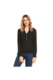 Sherosa Women's Long Sleeve Casual Zip up V-neck Chiffon Pocket Blouse Tops - My look - $18.99