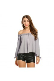 Sherosa Women's Sexy Off Should Long Sleeve Shirts Strapless Blouse Tops - My look - $17.99