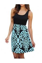 Sherosa Women's Summer Sleevless Bohemian Print Tunic Swing Loose Swing Dress (XXL, Light Blue) - My look - $16.99