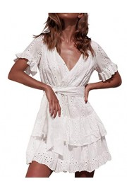 Simple Flavor Women's Casual Summer V-Neck Sexy Beach Dress Hollow Out Lace Mini Party Dress - O meu olhar - $28.99  ~ 24.90€