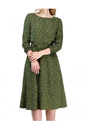 Simple Flavor Women's Casual Work Dress Floral Midi Dress 3/4 Sleeves - O meu olhar - $25.99  ~ 22.32€