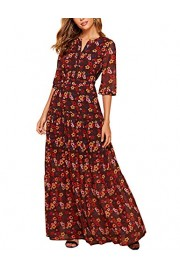 Simple Flavor Women's Floral Button Down Chiffon Maxi Dress - O meu olhar - $28.99  ~ 24.90€