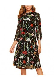 Simple Flavor Women's Floral Chiffon Dress Elegant Midi Evening Dress 3/4 Sleeves - O meu olhar - $28.99  ~ 24.90€