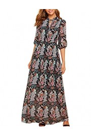 Simple Flavor Women's Floral Maxi Dress V Neck Elegant Long Boho Dress - O meu olhar - $28.99  ~ 24.90€