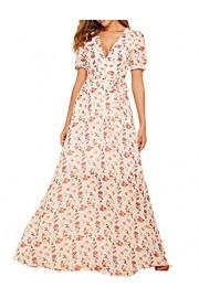 Simple Flavor Women's Floral Maxi Dress V Neck Elegant Long Dress with Belt - O meu olhar - $28.99  ~ 24.90€
