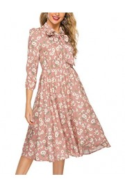 Simple Flavor Women's Floral Midi Work Dress 3/4 Sleeve Bow Tie Neck - O meu olhar - $16.99  ~ 14.59€