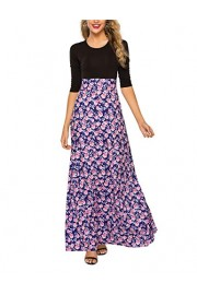 Simple Flavor Women's Floral Patchwork Maxi Dress Work Casual Elegant Long Dress with Pocket - O meu olhar - $27.99  ~ 24.04€