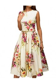 Simple Flavor Women's Floral Sleeveless Vintage Tea Dress Casual Party Cocktail Dress (Beige,XXL) - O meu olhar - $21.99  ~ 18.89€