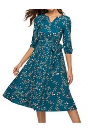 Simple Flavor Women's Floral Vintage Midi Dress 3/4 Sleeve Casual Work Flare Dress with Belt(Green,XXL) - O meu olhar - $24.99  ~ 21.46€