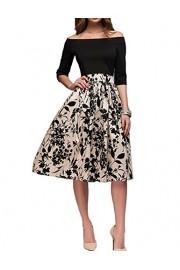 Simple Flavor Women's Foral Print Off Shoulder Patchwork Midi Vintage Dress - O meu olhar - $18.99  ~ 16.31€