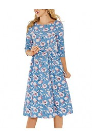 Simple Flavor Women's Half Sleeve Vintage Midi Dress Floral Aline Dress with Pockets - O meu olhar - $25.59  ~ 21.98€