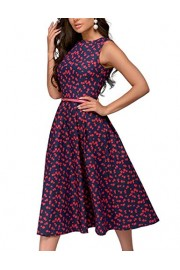 Simple Flavor Women's Sleeveless Vintage Floral Dress Aline Casual Midi Dress - O meu olhar - $19.99  ~ 17.17€