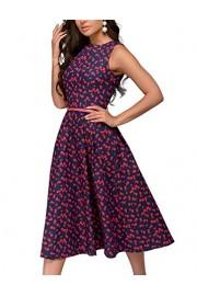 Simple Flavor Women's Sleeveless Vintage Floral Dress Aline Casual Midi Dress - O meu olhar - $19.99  ~ 17.17€
