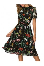 Simple Flavor Women's Summer Floral Chiffon Midi Dress Short Sleeve(3104Black,XXL) - O meu olhar - $25.99  ~ 22.32€