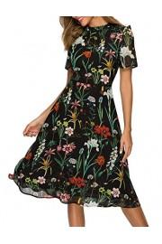 Simple Flavor Women's Summer Floral Chiffon Midi Dress Short Sleeve - O meu olhar - $25.99  ~ 22.32€