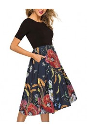 Simple Flavor Women's Vintage Floral Patchwork Casual Puffy Swing Party Midi Dress Pockets - O meu olhar - $26.99  ~ 23.18€