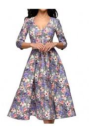Simple Flavor Women's Vintage Midi Dress Floral V-Neck Work Dress 3/4 Sleeve - O meu olhar - $25.59  ~ 21.98€