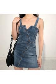 Single-breasted denim suspender dress st - My时装实拍 - $27.99  ~ ¥187.54