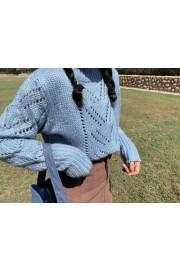 Smoky blue turtleneck sweater retro lazy - My look - $28.99