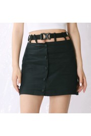 Splicing school bag buckle high waist hi - Mi look - $27.99  ~ 24.04€