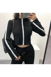 Stand collar slim short cropped navel tr - Myファッションスナップ - $25.99  ~ ¥2,925