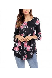 Suimiki Women's 3/4 Flared Sleeve Floral Printed Casual Blouse Top - My look - $12.99