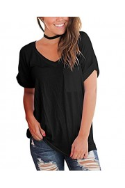 Suimiki Women's Basic Tee Tops Short Sleeve V Neck Loose T Shirt with Front Pocket - My look - $10.99