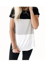 Suimiki Women's Casual Crew Neck Stripe Blouse Top Short Sleeve T Shirt - My look - $11.99