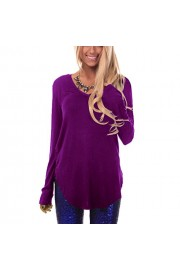 Suimiki Women's Casual V Neck Long Sleeve T Shirt Side Slit Solid Color Tee Top - My look - $10.98