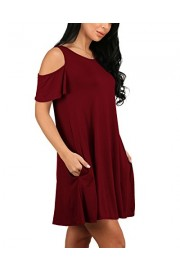 Suimiki Women's Cold Shoulder Loose T-Shirt Tunic Top Swing Dresses - My look - $14.99