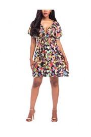 Suimiki Women's Floral Printed Beachwear Loose Deep V Neck Dress Pluz Size - My look - $13.99