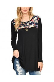 Suimiki Women's Floral Printed Long Sleeve Casual Crewneck Tunic Top - My look - $11.89
