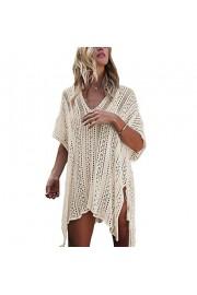 Suimiki Women's Hollow Out Bathing Suit Bikini Cover up Swimwear Crochet Loose Beach Dress - My look - $13.99