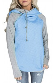 Suimiki Women's Long Sleeve Spliced Color Hoodie Top Cowl Neck Pullover Pockets Sweatshirts - My look - $19.99