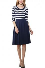 Suimiki Women's Retro Style 2/3 Sleeve Stripe Patchwork Swing Dress - My look - $17.99