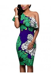 Suimiki Women's Sexy One Off Shoulder Floral Printed Ruffle Bodycon Midi Dress - My look - $13.99