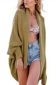Suimiki Women's Stylish Batwing Knitted Cardigan Loose Sweater Coat Khaki One Size - My look - $19.99