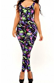 Suimiki Women's Stylish Clubwear Sexy Sleeveless Colorful Bodycon Romper Jumpsuit - My look - $15.99