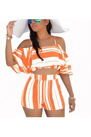 Suimiki Women's Two-Piecess Ruffle Striped Printed Beach Wear Romper Jumpsuit - My look - $18.99