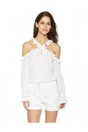 Suite Alice Women's Long Sleeve Ruffle Shoulder Cutout Blouse - O meu olhar - $26.95  ~ 23.15€