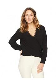 Suite Alice Women's Long Sleeve V-Neck Wrap Front Lace Trim Woven Blouse - O meu olhar - $25.95  ~ 22.29€