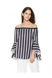 Suite Alice Women's Off Shoulder Bell Sleeve Print Woven Blouse - O meu olhar - $29.95  ~ 25.72€