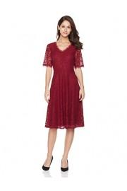 Suite Alice Women's Short Sleeve Scalloped Neck Flare Hem Lace Dress - O meu olhar - $39.95  ~ 34.31€