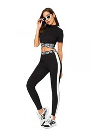 SweatyRocks Women's 2 Pieces Outfits Cropped T Shirt and Long Pants Tracksuits Set Sportwear - My look - $20.99