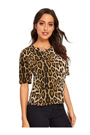 SweatyRocks Women's Casual Round Neck Short Sleeve Leopard Print T-Shirt Tops - Myファッションスナップ - $7.99  ~ ¥899
