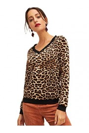 SweatyRocks Women's Casual V Neck Long Sleeve Leopard Sweatshirts Pullover Shirt Blouse Tops - Myファッションスナップ - $14.99  ~ ¥1,687