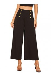 SweatyRocks Women's Classy High Waist Double Breasted Wide Leg Regular Fit Pants with Hide Zipper - Myファッションスナップ - $8.99  ~ ¥1,012