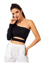 SweatyRocks Women's Cutout Waist Long Sleeve One Shoulder Crop Top T Shirt - Myファッションスナップ - $6.99  ~ ¥787