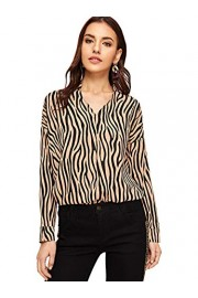 SweatyRocks Women's Elegant Long Sleeve V Neck Zebra Print Blouse Shirt top - Myファッションスナップ - $7.89  ~ ¥888