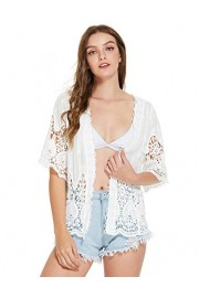 SweatyRocks Women's Floral Lace Crochet Kimono Cardigan Beach Wear Cover up - Mi look - $15.99  ~ 13.73€